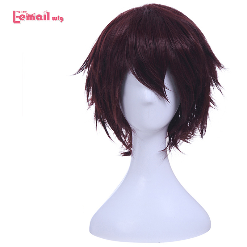 L email wig Brand New 30cm 11 81inch Cosplay Wigs Wine Red Short Heat Resistant Synthetic