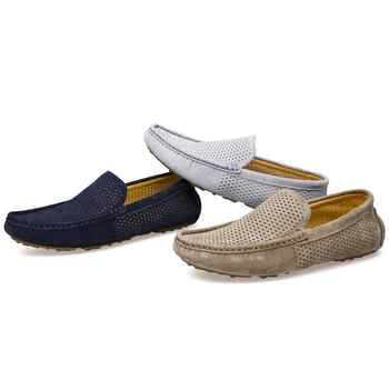 Genuine leather Men Loafers Breathable Summer Slip-On Flats Male Boat shoes Casual Driving shoes Hollow Out Moccasins 022