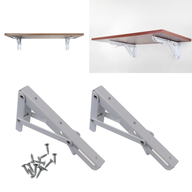 2pcs steel triangle triangle folding angle shelf bracket durable