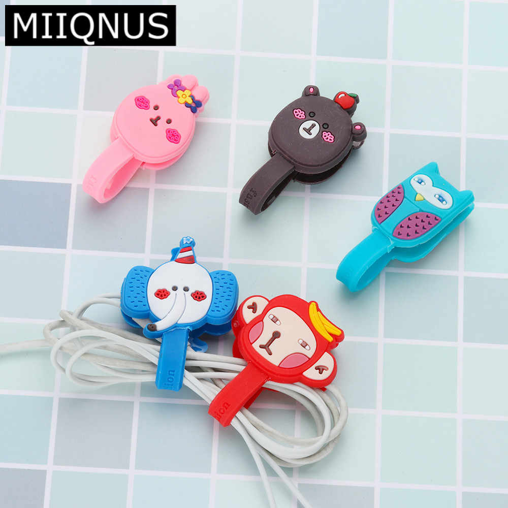 Multi-styles Cartoon Thread Tool Headphone Earphone Earbud Silicone Cable Cord Wrap Winder Organizer Holder Winding Thread Tool