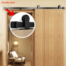 Sliding Barn Door Hanging Rails I Shape Black Steel Closet Kit Top Mounted Hanger Sliding Door Hardware Double Door Roller Rail