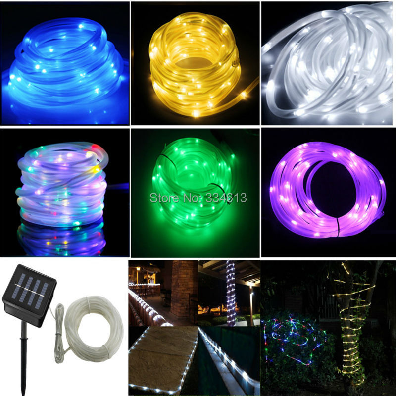 Solar Powered PVC Tube Outdoor LED Strip String Lights 5M 50LED Waterproof Holiday Rope Tree Garden Lights