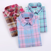 Brand New Women Blouses Cotton Long Sleeve Shirts Women Tops Turn Down Collar Plaid Shirt Casual