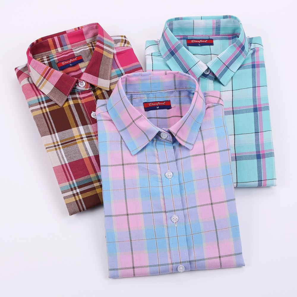Dioufond Vintage Women Plaid Cotton Blouses Casual Long ...