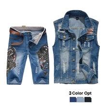 Men Jean Vest Jacket Set Retro Ripped Destroyed Skinny Hole Top Denim Short Pants 1/2 Trousers Summer Beach Wear Blue Dragon Dwa