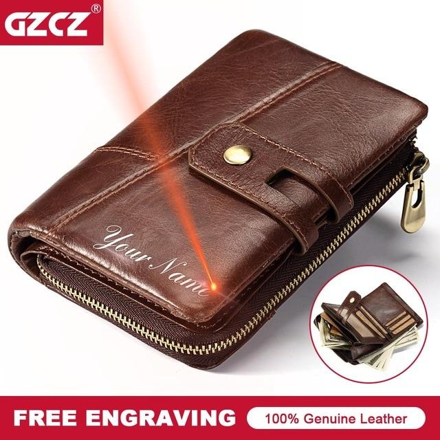 1b6562ea2797 GZCZ 2018 Genuine Leather Men Wallets Fashion Brand Bifold Design Male Coin  Purse High Quality Card