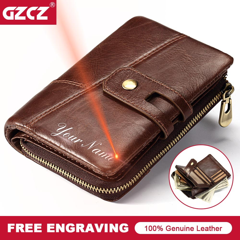 GZCZ 2018 Genuine Leather Men Wallets Fashion Brand Bifold Design Male Coin Purse High Quality Card ID Holder Dropshipping Walet