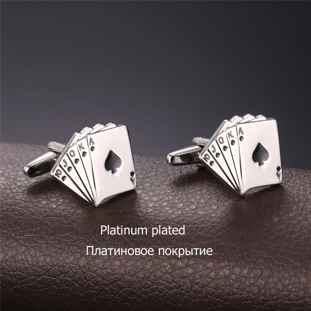 U7 Poker Cufflinks Mens Shirt Gold Color High Cuff Links Buttons Wedding Jewelry Groomsmen