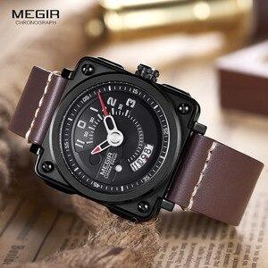 Image 3 - Megir Mens Square Analog Dial สายหนังสายนาฬิกาข้อมือควอตซ์กันน้ำนาฬิกาปฏิทินวันที่ 2040