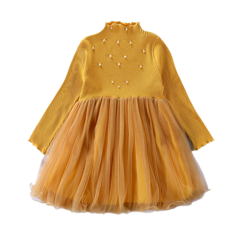 New Brand Princess Dress Autumn winter Girls Tutu Dress Evening Party Dress Girls Long-sleeved Knitting Baby Girls Dresses CA109 hot sale new autumn children wedding dress baby girls dresses kids striped bow long sleeved lace princess casual dress for party