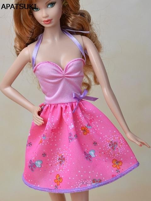 Ropa de muñeca de moda Rosa sexy mini vestido para Barbie Muñecas ...