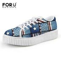 High Thick Heel Women Flat Shoes Designer UK USA Flag Print Women Platform Shoes Comfortable Female