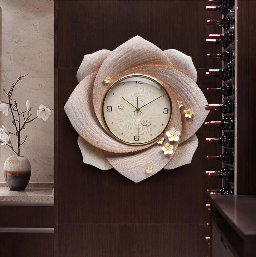 Современная роскошь тиснение полимерные настенные часы украшения ремесла креативные личные часы дома Висячие немой кварцевые часы фотообои с орнаментом - 2