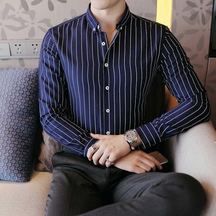 Cozimastarla 春夏ストライプ長袖シャツ英国スタイルのファッションスリム下着フォーマルカジュアルビジネスシャツ男性 5XL