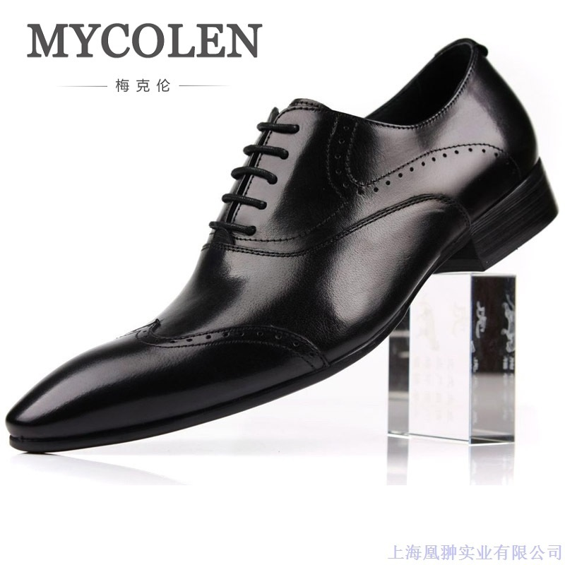 MYCOLEN New Design Italian Style Genuine Grain Leather Mens Formal Business Shoe Men Dress Breathable Shoes Scarpe Uomo Pelle casio часы casio ga 110ht 1a коллекция g shock