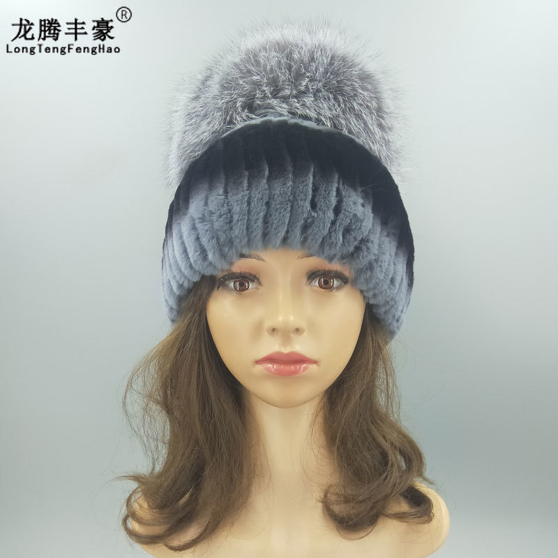 Winter fur hat for women Real Rex Rabbit hat with fox fur pom poms madam  Beanie ab85691f6d1