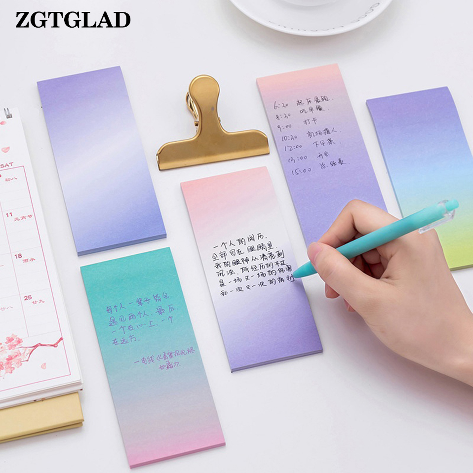 ZGTGLAD 1 Set New Colorful Sticky Notes Fantastic Memo Pad Long Gradient Sticker Stationery Home DIY Decoration Random Color
