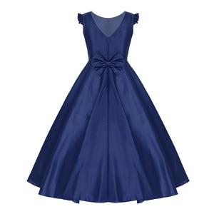 Image 3 - Tiaobug dzieci dzieci dziewczyny satyna potargane Bowknot kwiat dziewczyna sukienka księżniczka korowód urodziny letnia suknia wieczorowa