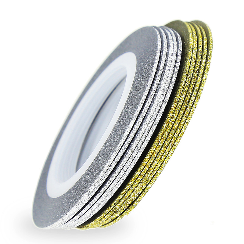 Gold Striping Tape Nail Art: Aliexpress.com : Buy 30 Rolls Laser Gold Silver Glitter