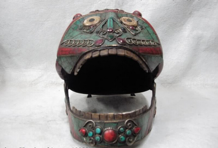 150401 S0697 Nepal Buddhism Copper Inlay Shell Turquoise Coral Gem Monkey Skull Death's Head