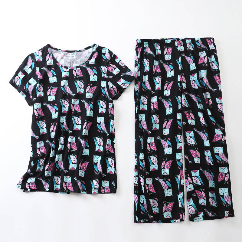 2019 Summer New Ladies   Pajama     Set   Cute Cartoon Cat Printed Sleepwear   Set   Women Comfort Top+Pants 2Pcs Homewear Loose Casual Wear