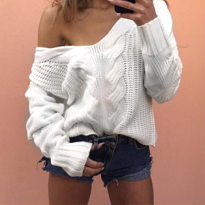 Autumn Women Knitted Sweater V Neck Pullover Off Shoulder Loose Sweaters Long Sleeve Jumper Warm Tops Female Clothing