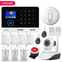 FUERS Upgrade PG103 WIFI GPRS GSM Home Security Alarm System APP Control Siren Smoke PIR Motion Humidity Detector RFID DIY Set