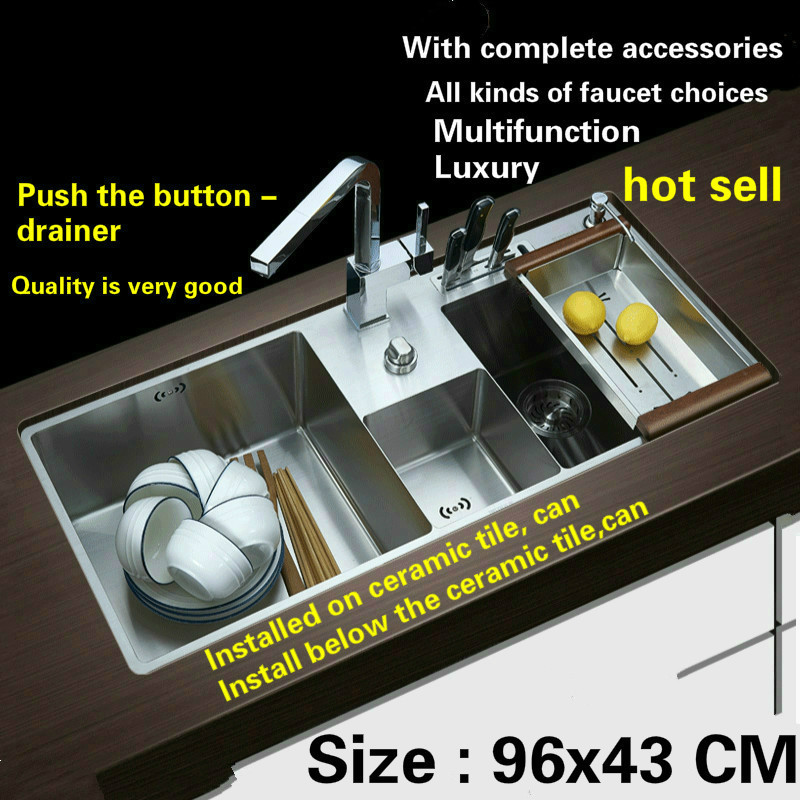 Free Shipping  Hot Sell Standard Push The Button - Drainer Luxury Kitchen Manual Sink Double Groove 304 Stainless Steel 96x43 CM