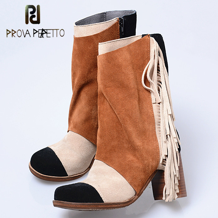 Prova Perfetto Mixed Color Suede Leather Winter Patchwork Woman Boots Elegant Fringe Round Toe Chunky High Heel Short Boots women elegant dark green suede fringe block heels ankle boots comfortable chunky heel round toe back tassel short boots hot sell