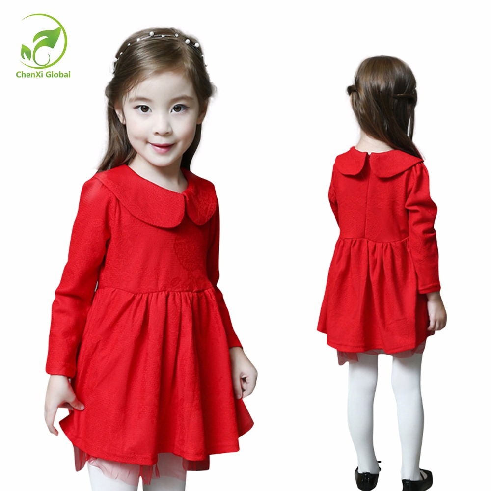 Spring Autumn New Arrival Cotton Girl Korean Clothes Doll Collar Red Long Sleeved Casual Mini Dress Kids Clothing Party Prom polo golf clothes costume lady golf zipper collar shirt cotton autumn jacket long sleeved tshirt fashion korean female clothing