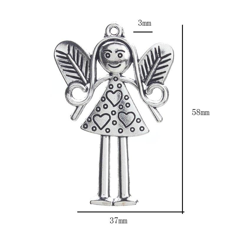 5 шт./партия, модные цветочные сказочные подвески, подвеска, античный серебряный тон, подвески на брелки для ключей для ювелирных изделий, 37*58 мм - Окраска металла: 1