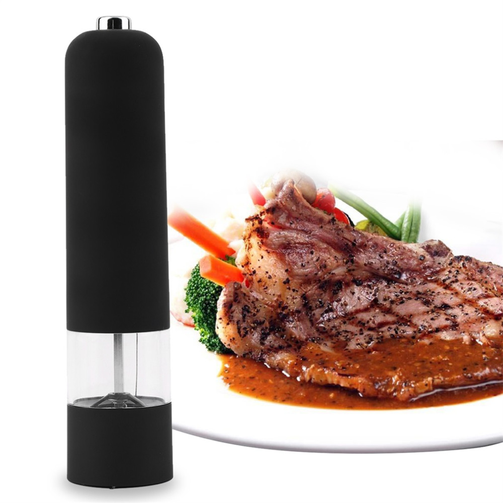 BEST Hot Kitchen Tools Electric Salt Spice Pepper Herb Mills Grinder with LED Light pepper mill pepermolen Black