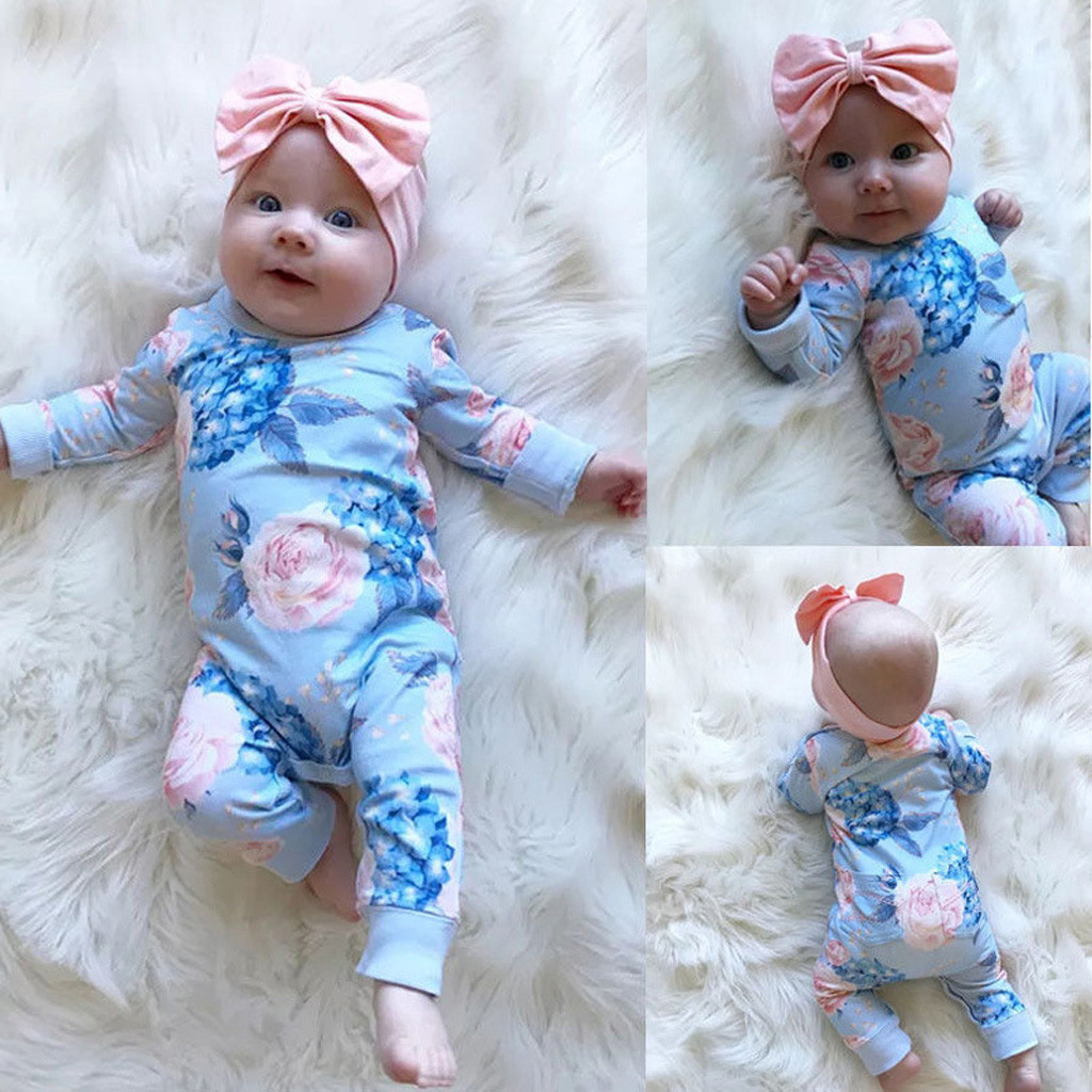 Toddler Kids Baby   Romper   Girl Cotton Floral Jumpsuit Bow Hair Band Clothes Sets organic Children clothes new born baby clothes