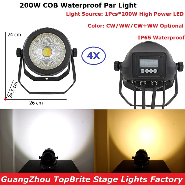4Pcs/Lot Outdoor Use COB 200W LED Stage Par Light DMX 6/2 Channels Professional DJ Lighting Shows Equipments Aluminum Shell