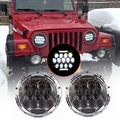 2pcs 7 Inch 75w White LED Round Headlight Offroad Car Lamp Black with Phillips LED Chip