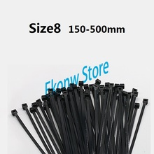 High quality Size8 150-500mm black color Factory Standard Self-locking Plastic Nylon Cable Ties Wire Zip Tie