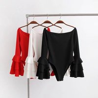 Women Spring Pure Color Black Red Sexy Body Suit Tiered Ruffle Flare Sleeve Bodysuits Female Casual