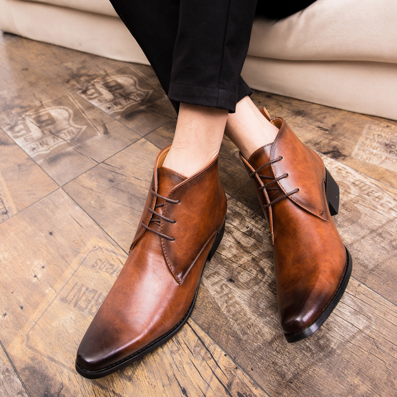 Misalwa Christmas Luxury Men Business Dress Boots Lace Up Vintage Brand Pointed Toe Brown Chelsea Boots Leisure Botas Hombre in Basic Boots from Shoes