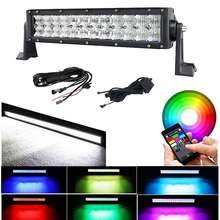 14 INCH 72W 5D Lens Led Light Bar Spot Flood Combo RGB Color Change Strobe Flash Music Rock Lamp For ATV SUV TRUCK BOAT 4WD 4X4