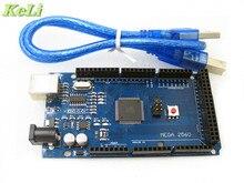 Бесплатная доставка! Мега 2560 R3 Mega2560 REV3 ATmega2560-16AU доска + USB кабель, совместимый Хорошее качество низкая цена