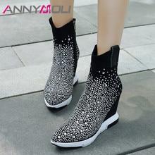 купить ANNYMOLI Genuine Leather Boots Women Kid Suede Wedge High Heel Short Boots Rhinestone Pointed Toe Shoes Female Autumn Size 34-39 по цене 3460.42 рублей
