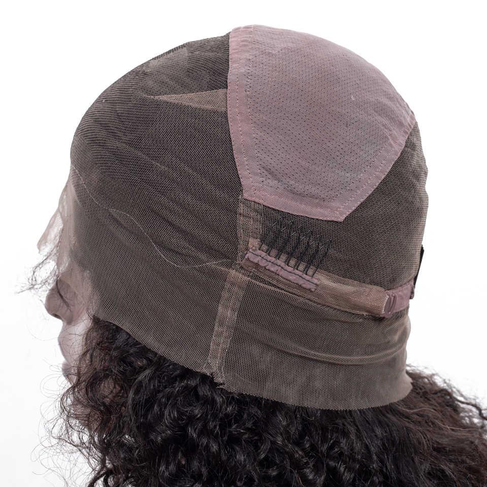 Pelucas de pelo humano de encaje completo pelucas rizadas para mujeres negras 150% densidad Remy pelo humano brasileño 10-26 lleno pelucas de encaje con pelo de bebé