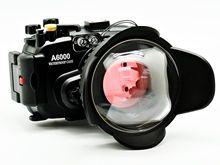 En la Acción! bajo el agua a prueba de agua carcasa de la cámara para sony a6000 + ojo de pez lente gran angular dome puerto (67mm ronda) + rojo filtro