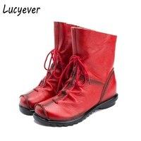 Lucyever 2017 Herfst Winter Vintage Lederen Vrouwen Handgemaakte Enkellaarsjes Leisure Flats Platform Schoenen Vrouw Grote Maat 35-42