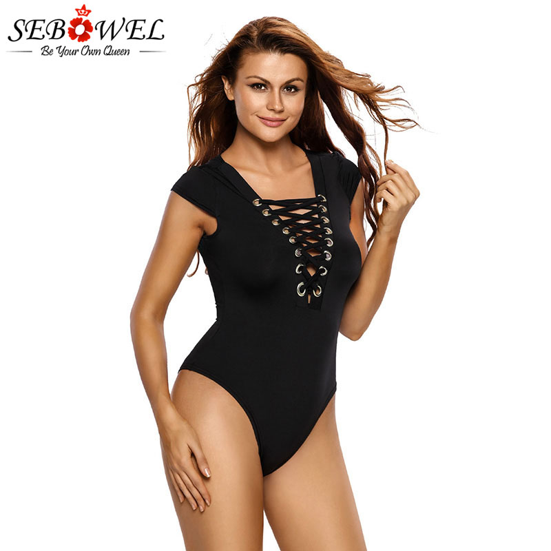 SEBOWEL Sexy Black Lace Up Short Sleeve Bodysuits Woman Summer 2019 Strappy Deep V-neck Female Ladies Body Top Casual Clothes