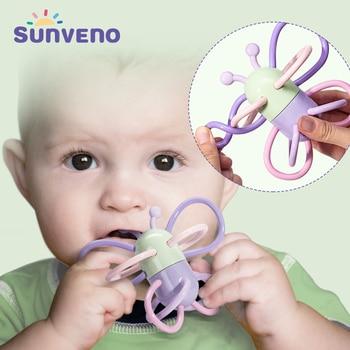 Forma de Borboleta Anel de Dentição Mordedor Chocalho Do Bebê Sunveno Roedores 0 Mastigar Brinquedos de Presente de Qualidade Alimentar para o Bebê-24 M produtos do bebê