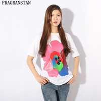 Spring Summer Fashion Female Casual Loose Floral Print O Neck T Shirt High Quality Cotton Women
