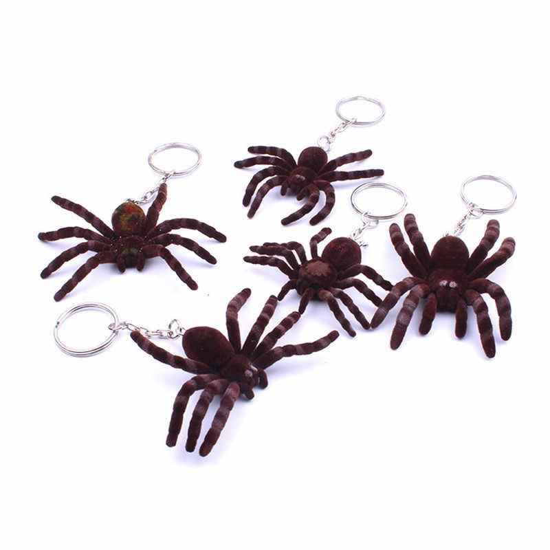 New Bonito Mini aranha Chaveiros Para Mulheres Meninas Sapatos de Tecido Feito À Mão Falso Coelho Pompom Pele De aranha Chaveiros Chave Do Carro Fofo anéis