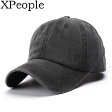 XPeople Unconstructed Washed Dad Hat Messy High Bun Ponycaps Plain Baseball Cap