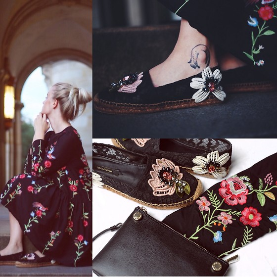 d568aa7142d0 ... black dress fashion style loose floral embroidered long sleeve O-neck  autumn winter 2017 elegant ...